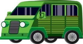 vector vehicle graphics - Flat Car, Truck, Bicycle, Plane Graphics Mega Bundle - Van 3