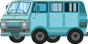 vector vehicle graphics - Flat Car, Truck, Bicycle, Plane Graphics Mega Bundle - Van 4
