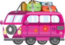 vector vehicle graphics - Flat Car, Truck, Bicycle, Plane Graphics Mega Bundle - Van 5