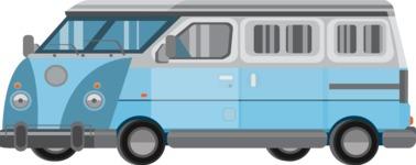 vector vehicle graphics - Flat Car, Truck, Bicycle, Plane Graphics Mega Bundle - Van 6