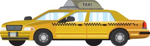vector vehicle graphics - Flat Car, Truck, Bicycle, Plane Graphics Mega Bundle - Taxi Car 2