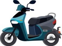vector vehicle graphics - Flat Car, Truck, Bicycle, Plane Graphics Mega Bundle - Scooter 1