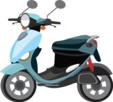 vector vehicle graphics - Flat Car, Truck, Bicycle, Plane Graphics Mega Bundle - Scooter 3