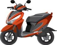 vector vehicle graphics - Flat Car, Truck, Bicycle, Plane Graphics Mega Bundle - Scooter 5