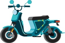 vector vehicle graphics - Flat Car, Truck, Bicycle, Plane Graphics Mega Bundle - Scooter 6