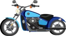 vector vehicle graphics - Flat Car, Truck, Bicycle, Plane Graphics Mega Bundle - Motorcycle 3