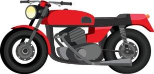 vector vehicle graphics - Flat Car, Truck, Bicycle, Plane Graphics Mega Bundle - Motorcycle 5