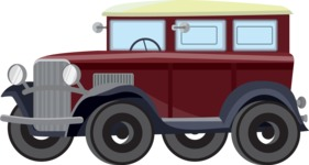 vector vehicle graphics - Flat Car, Truck, Bicycle, Plane Graphics Mega Bundle - Retro Car 6