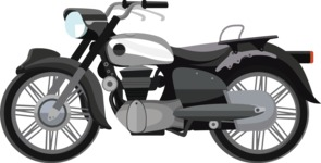 vector vehicle graphics - Flat Car, Truck, Bicycle, Plane Graphics Mega Bundle - Motorcycle 8