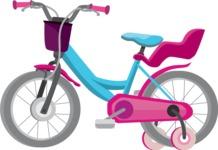 vector vehicle graphics - Flat Car, Truck, Bicycle, Plane Graphics Mega Bundle - Bike 1