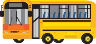 vector vehicle graphics - Flat Car, Truck, Bicycle, Plane Graphics Mega Bundle - School Bus 2