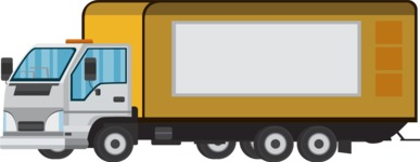 vector vehicle graphics - Flat Car, Truck, Bicycle, Plane Graphics Mega Bundle - Delivery Truck 2