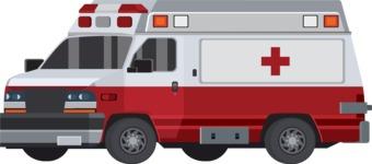 vector vehicle graphics - Flat Car, Truck, Bicycle, Plane Graphics Mega Bundle - Ambulance 1
