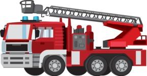 vector vehicle graphics - Flat Car, Truck, Bicycle, Plane Graphics Mega Bundle - Fire Engine 1