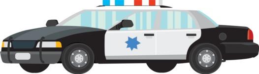 vector vehicle graphics - Flat Car, Truck, Bicycle, Plane Graphics Mega Bundle - Police Car 1