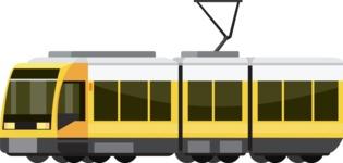 vector vehicle graphics - Flat Car, Truck, Bicycle, Plane Graphics Mega Bundle - Tram 1