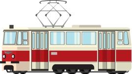 vector vehicle graphics - Flat Car, Truck, Bicycle, Plane Graphics Mega Bundle - Tram 2