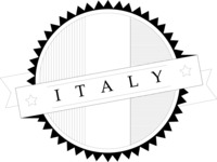 Italy Themed Graphic Collection - Italy Badge Black and White