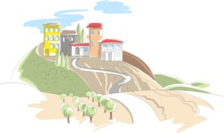 Italy Themed Graphic Collection - Italian Landscape Vector Illustration