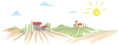 Italy Themed Graphic Collection - Rural Landscape Italy Vector Illustration