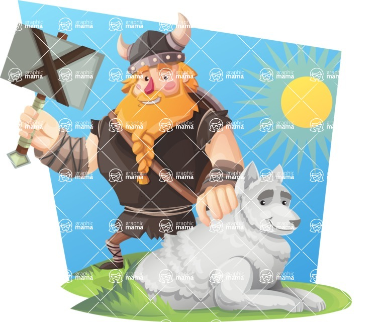 Big Male Viking Cartoon Vector Character AKA Torhild the Brave - Shape 9