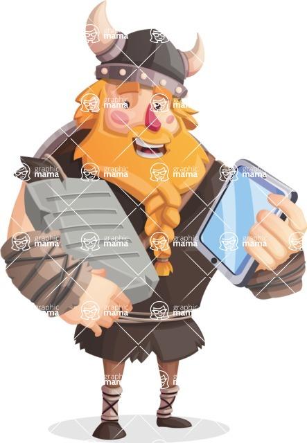 Big Male Viking Cartoon Vector Character AKA Torhild the Brave - Book and tablet