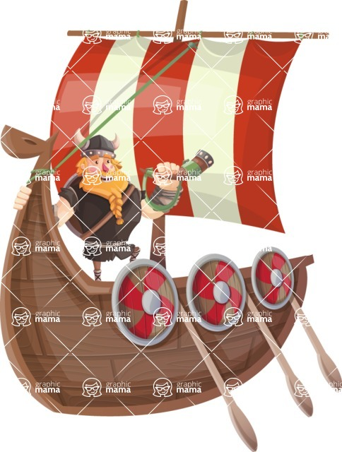 Big Male Viking Cartoon Vector Character AKA Torhild the Brave - Expedition