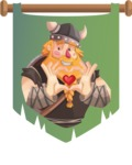 Big Male Viking Cartoon Vector Character AKA Torhild the Brave - Shape 4