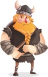 Big Male Viking Cartoon Vector Character AKA Torhild the Brave - Sad
