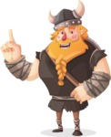 Big Male Viking Cartoon Vector Character AKA Torhild the Brave - Attention