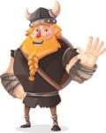 Big Male Viking Cartoon Vector Character AKA Torhild the Brave - Hello
