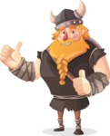 Big Male Viking Cartoon Vector Character AKA Torhild the Brave - Thumbs Up