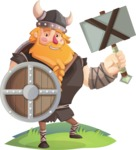 Big Male Viking Cartoon Vector Character AKA Torhild the Brave - Shield and hammer