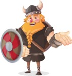 Big Male Viking Cartoon Vector Character AKA Torhild the Brave - Shield