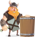 Big Male Viking Cartoon Vector Character AKA Torhild the Brave - Shield and hammer 2
