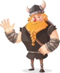 Big Male Viking Cartoon Vector Character AKA Torhild the Brave - Wave