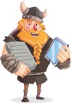 Big Male Viking Cartoon Vector Character AKA Torhild the Brave - Book and tablet