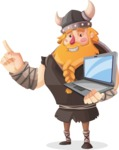 Big Male Viking Cartoon Vector Character AKA Torhild the Brave - Laptop