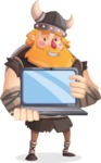 Big Male Viking Cartoon Vector Character AKA Torhild the Brave - Laptop 3