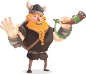Big Male Viking Cartoon Vector Character AKA Torhild the Brave - Trumpet