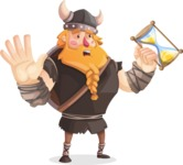 Big Male Viking Cartoon Vector Character AKA Torhild the Brave - Time is running out