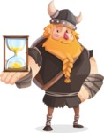 Big Male Viking Cartoon Vector Character AKA Torhild the Brave - On time