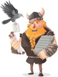 Big Male Viking Cartoon Vector Character AKA Torhild the Brave - Letter 5