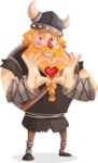 Big Male Viking Cartoon Vector Character AKA Torhild the Brave - Show love