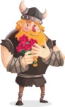 Big Male Viking Cartoon Vector Character AKA Torhild the Brave - Roses