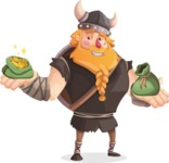 Big Male Viking Cartoon Vector Character AKA Torhild the Brave - Money