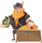 Big Male Viking Cartoon Vector Character AKA Torhild the Brave - Treasure chest 1
