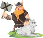 Big Male Viking Cartoon Vector Character AKA Torhild the Brave - Wolf