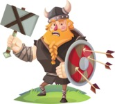 Big Male Viking Cartoon Vector Character AKA Torhild the Brave - Under Attack