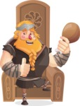 Big Male Viking Cartoon Vector Character AKA Torhild the Brave - Celebration